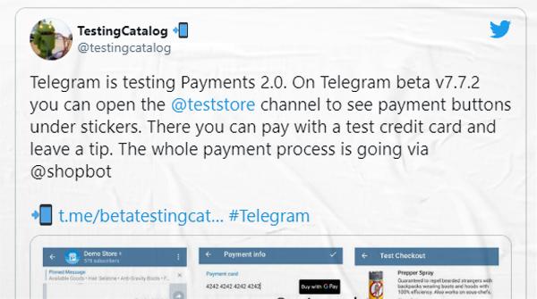 Telegram testa venda de produtos e pagamento dentro do próprio app